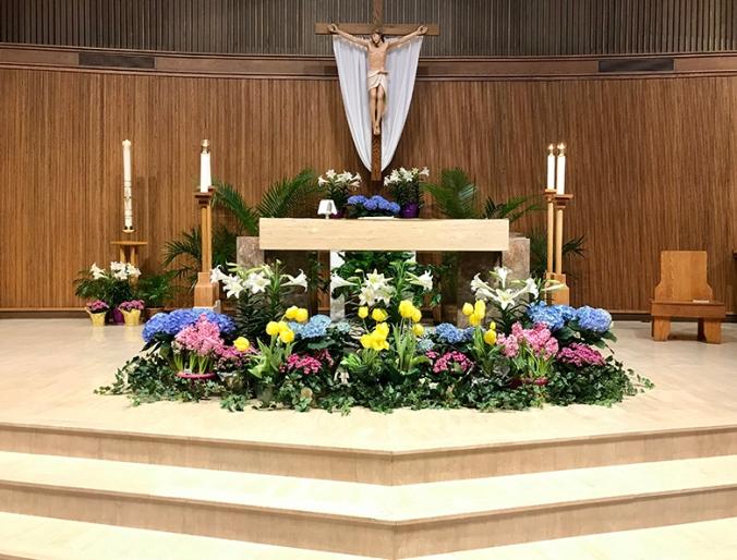 altar -easter flowers